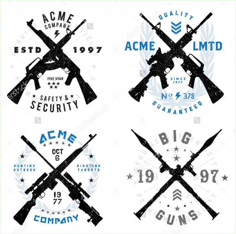 Vector Gun Badges Set logo