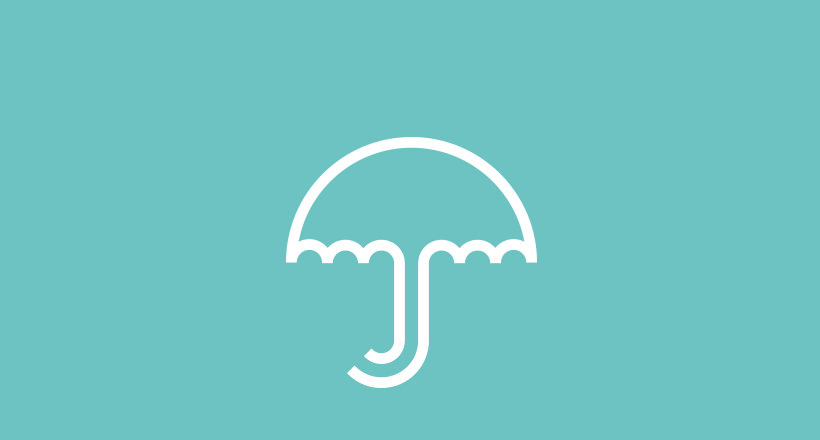 blue and white umbrella logo