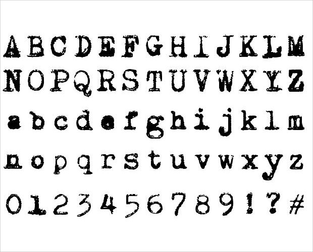 sample type writer font collection