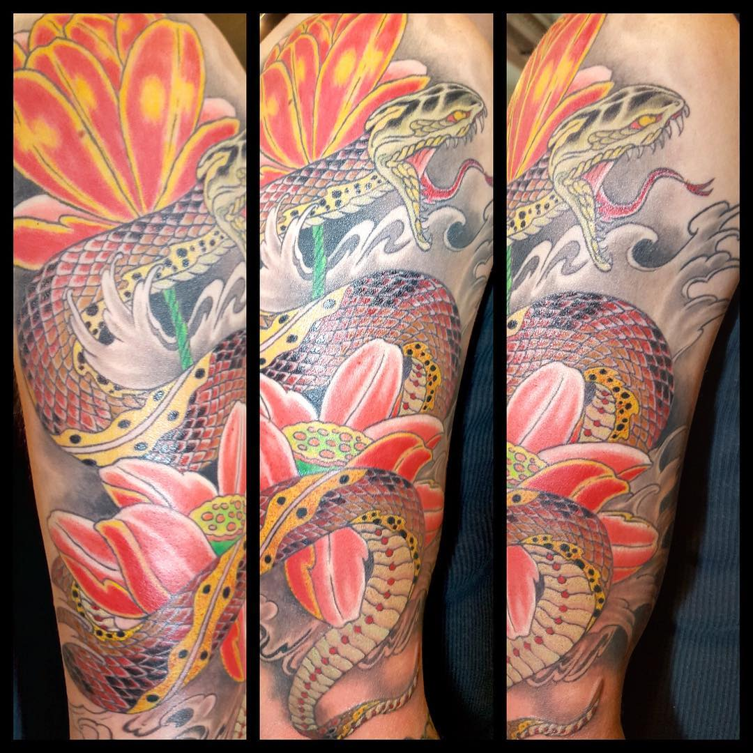 Light Colored Snake Tattoo Design
