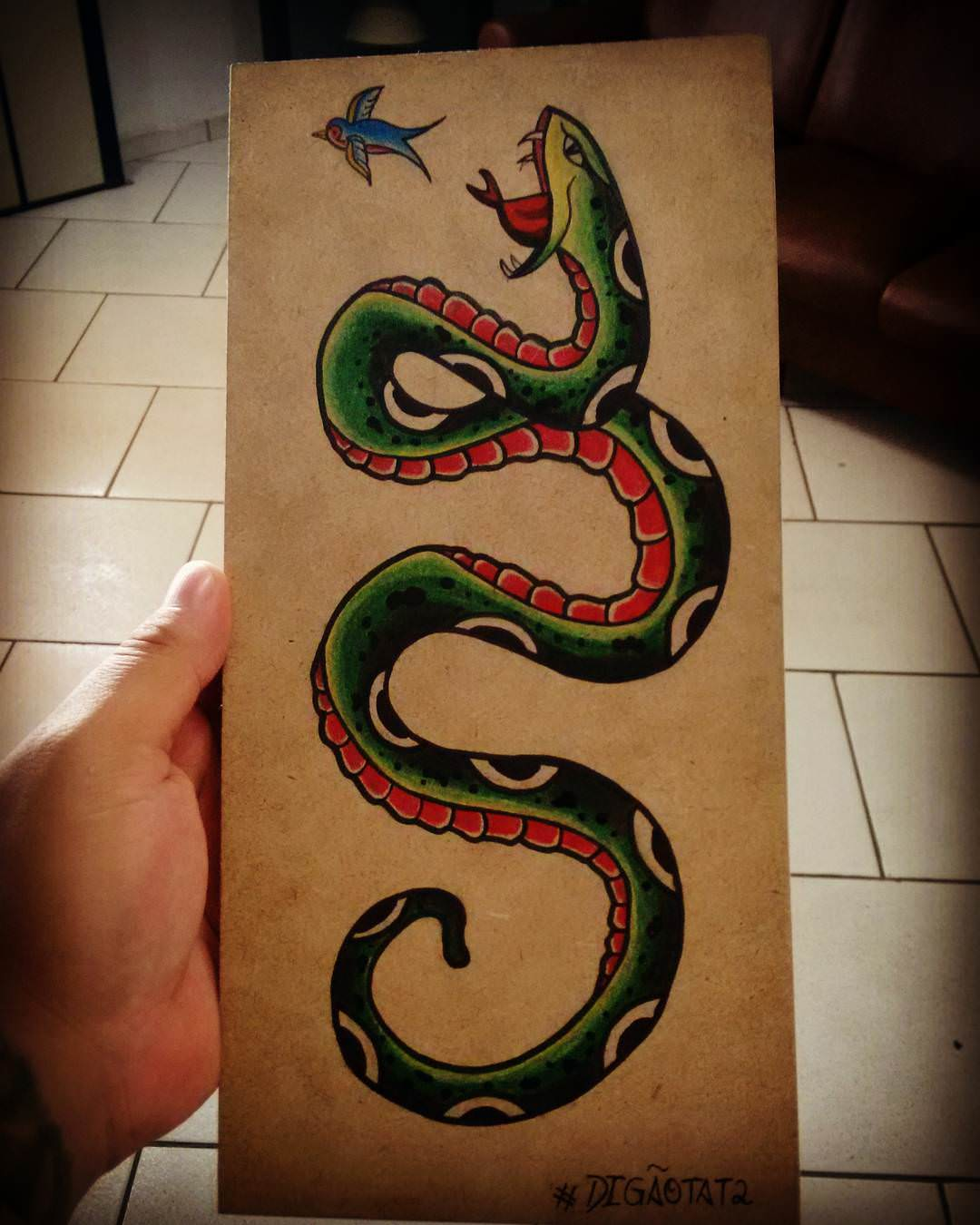 Printed Snake Tattoo Design