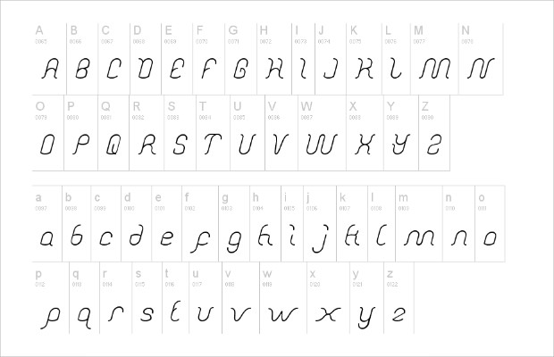 beautiful wave font character set