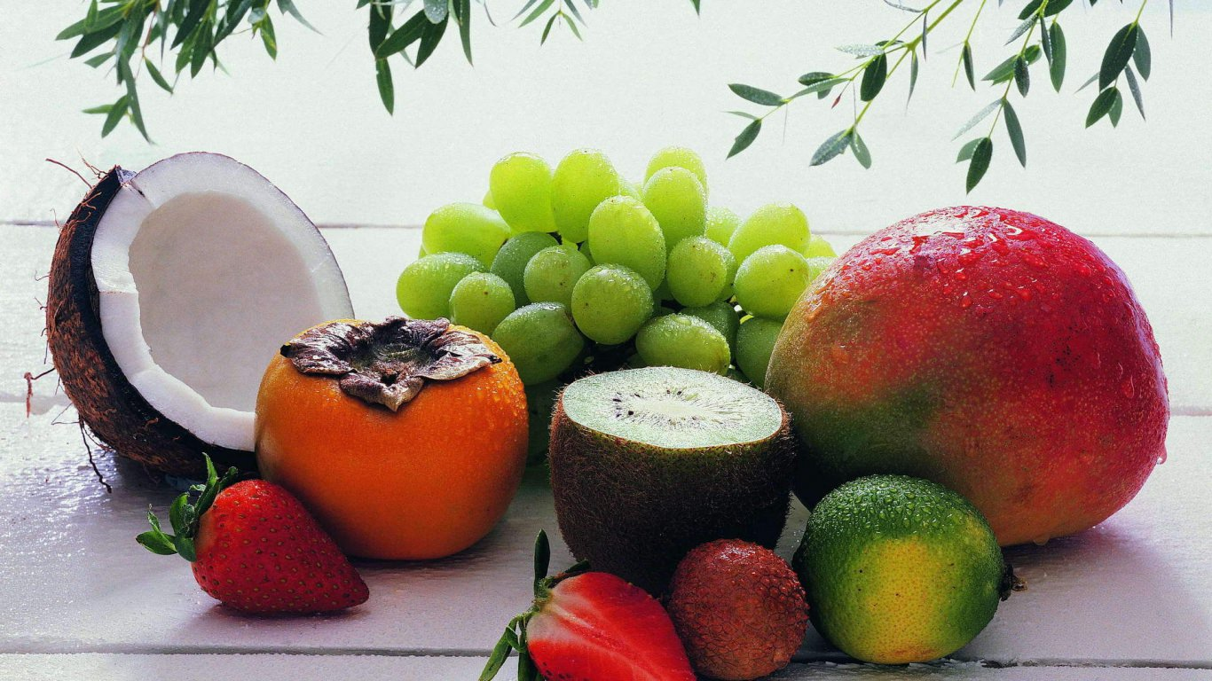 fruits and coconut wallpaper