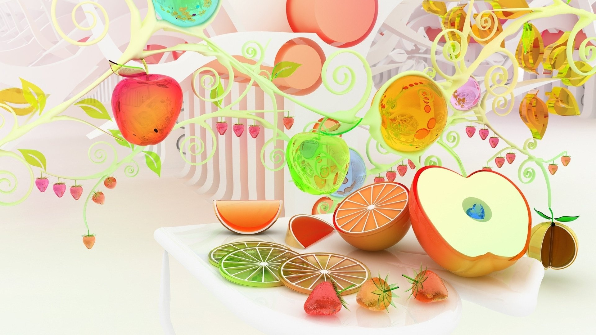 3d food artistic wallpaper