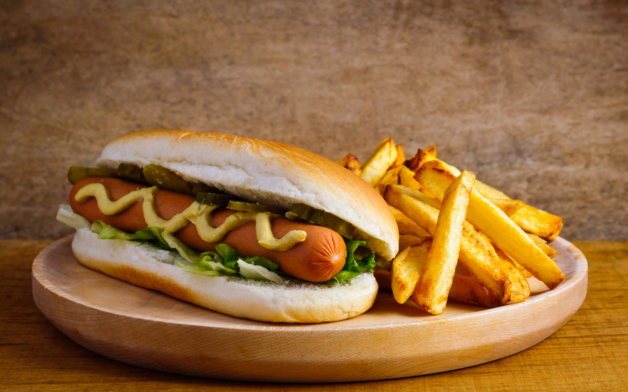 Hot Dogs with French Fries Wallpaper