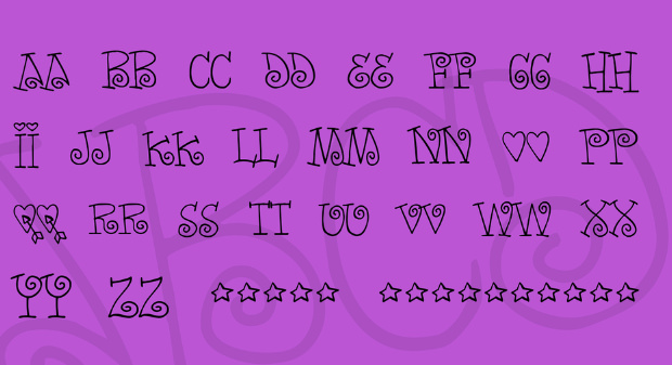 Cute Thin Round Fonts Character Set