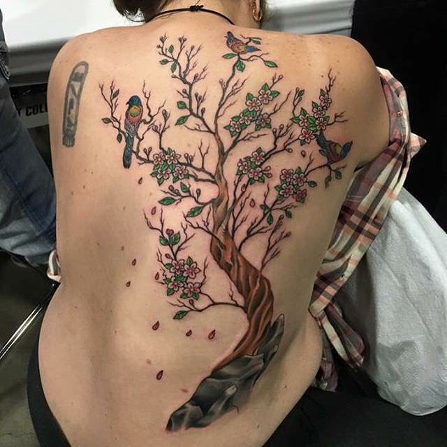 Beautiful Tree with Sparrow Tattoo Design