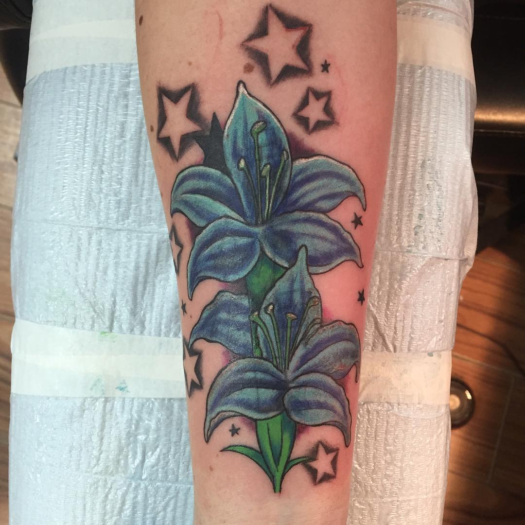 Blue Color Tattoo with Stars