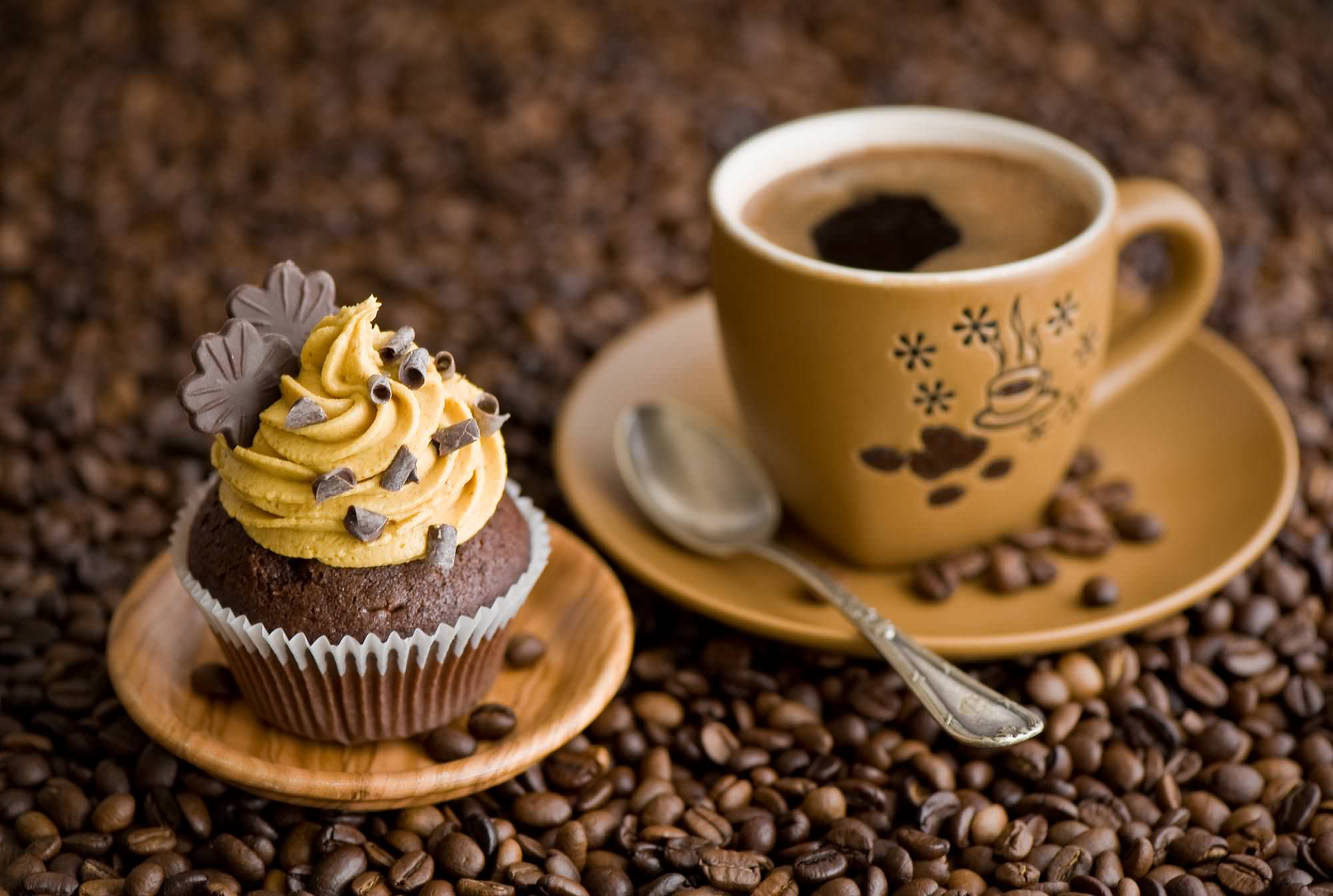 Cup Cake with Coffee Wallpaper