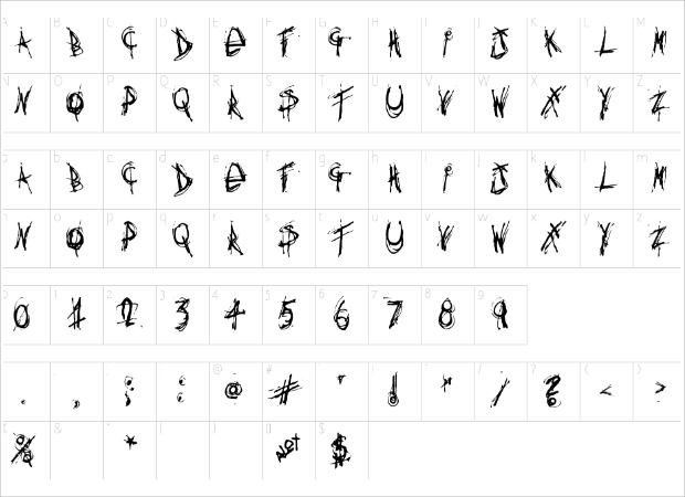 funky thin font characters