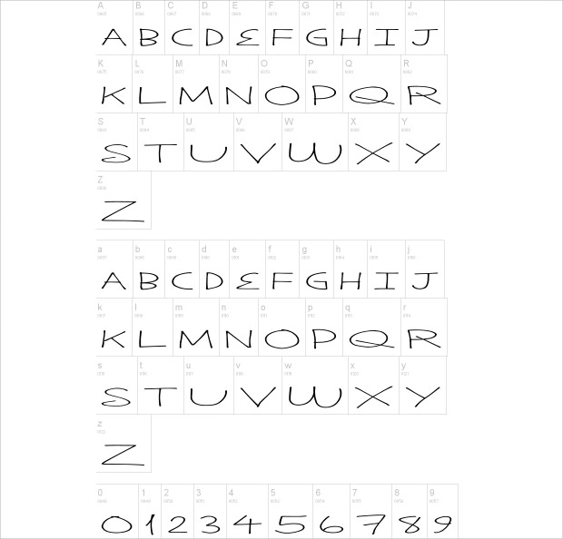 cool solid thin font characters