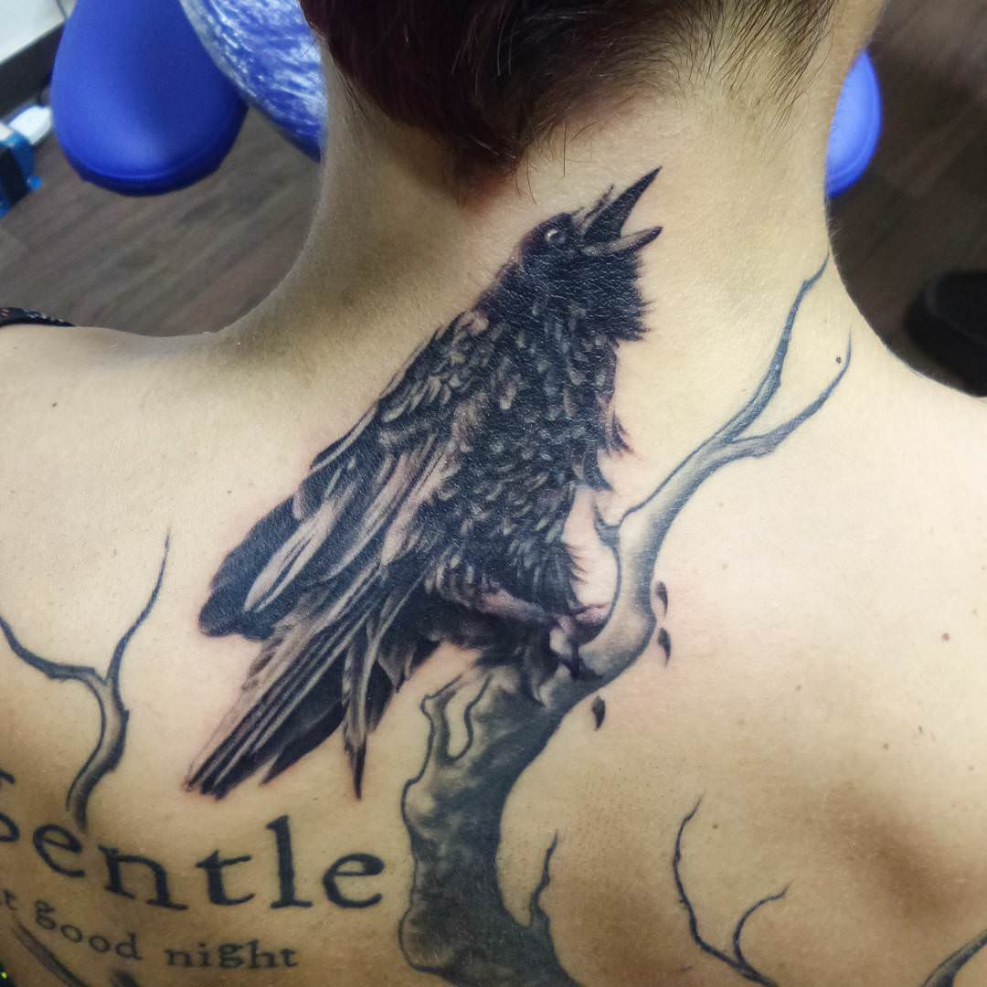 Raven Tattoo Design on Neck