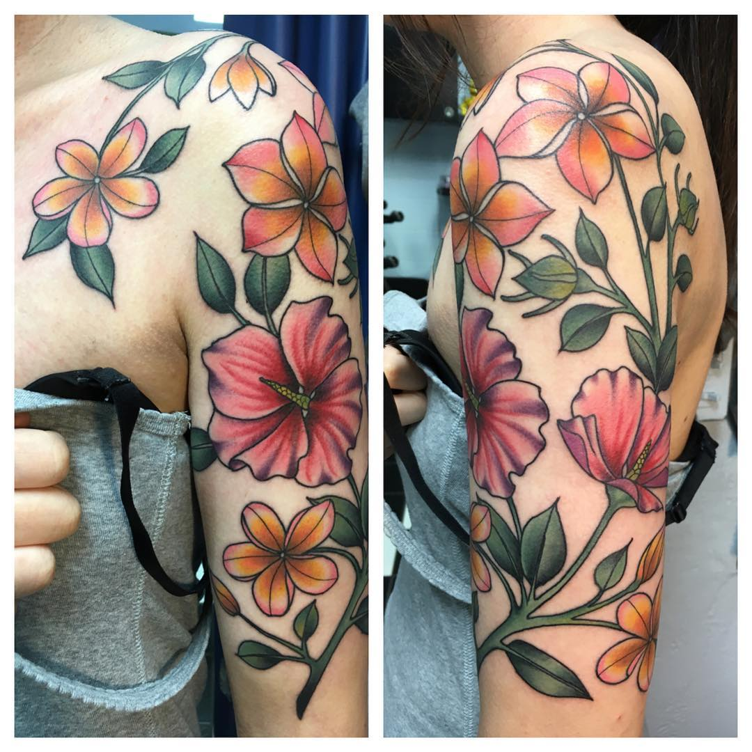 attractive beautiful flowers design tattoo