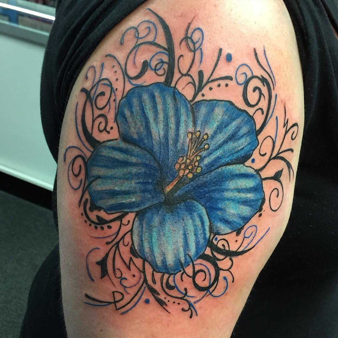 Blue Hibiscus Flower Tattoo
