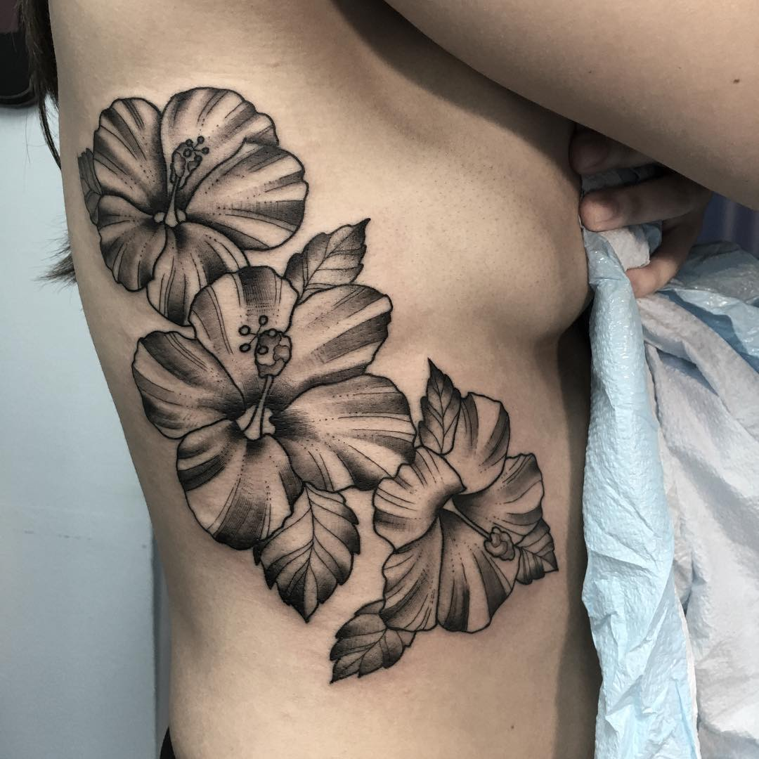 Dark Black Hibiscus Flower Tattoo