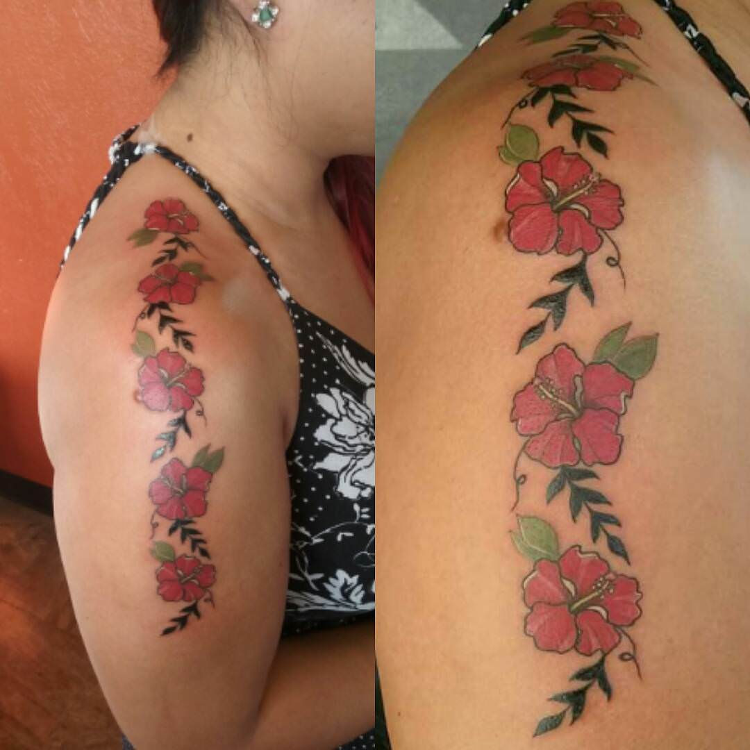 Small Hibiscus Flowers Design Tattoo
