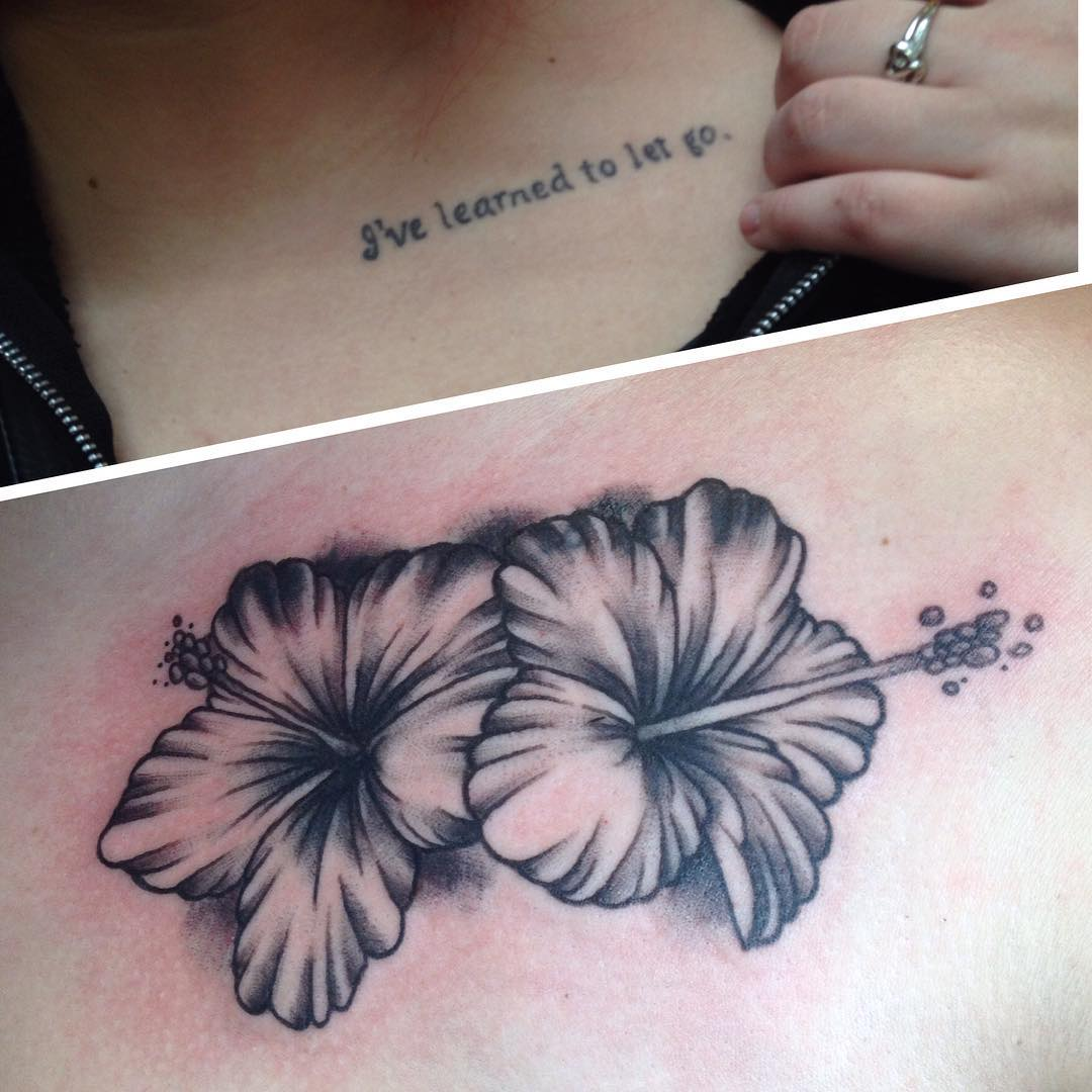 Two Beautiful Hibiscus Flowers Tattoo