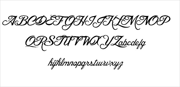 Brilliant Weeding font Alphabets