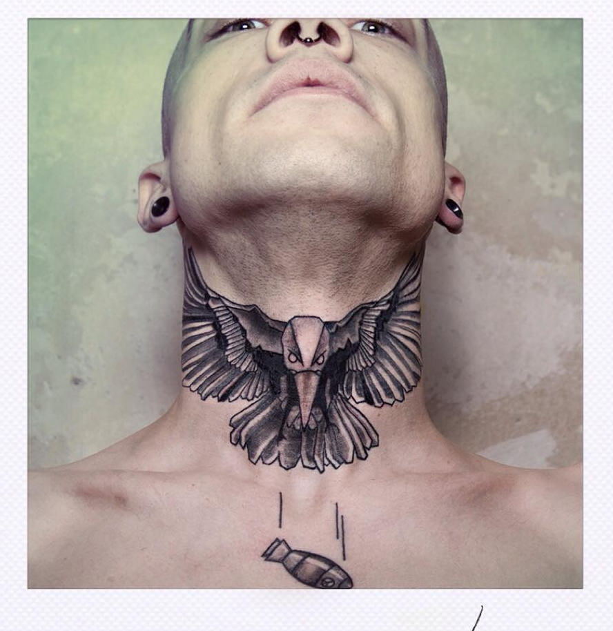 Neck Raven Tattoo Design