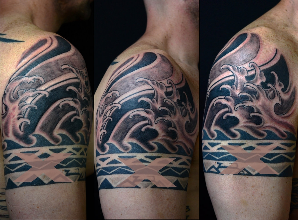 Black and Grey Wave Tattoo