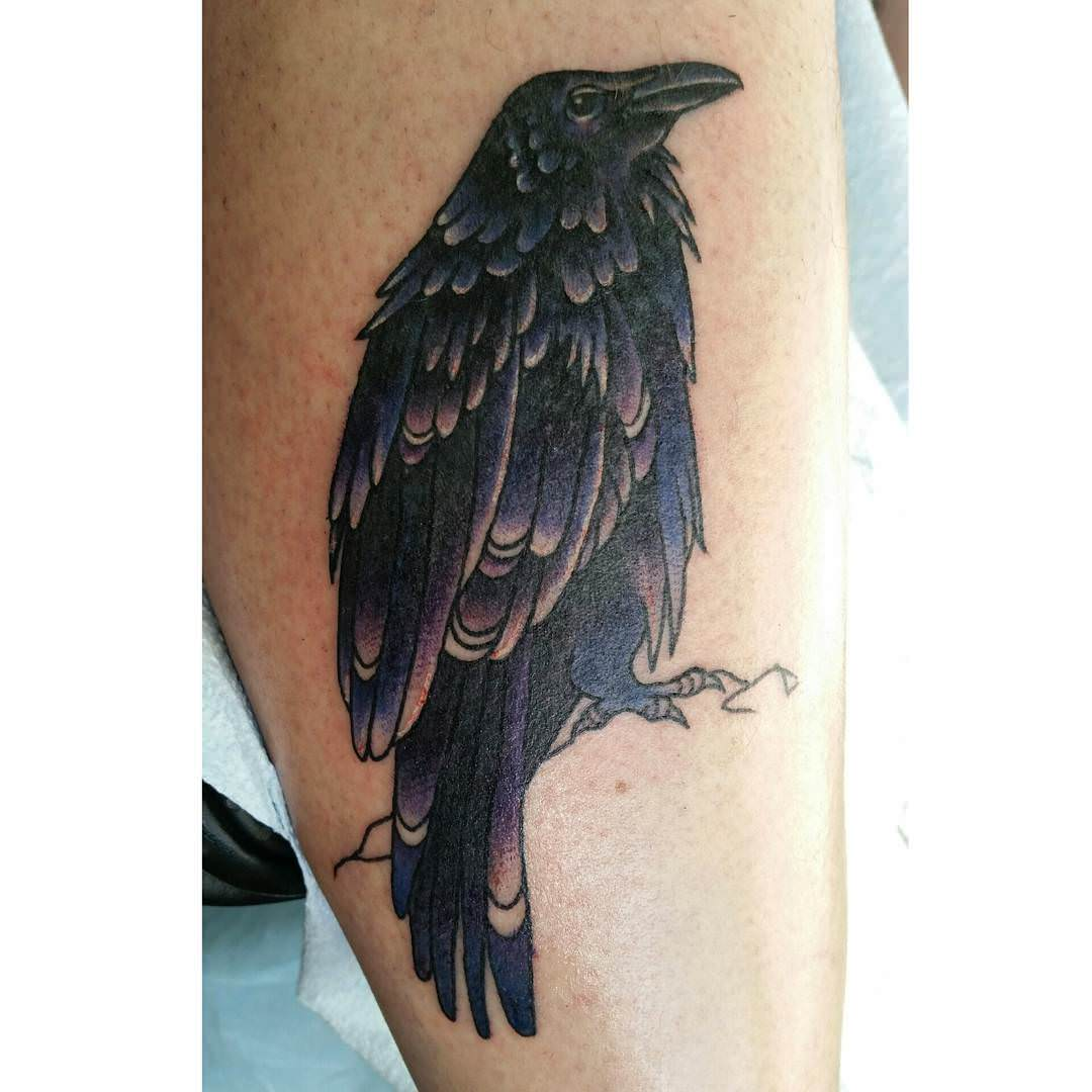 Single Raven Tattoo Design