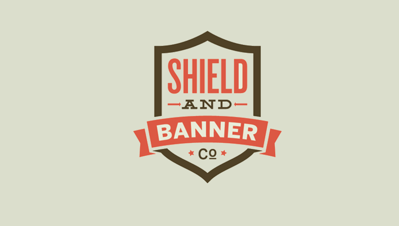 shield and banner logo