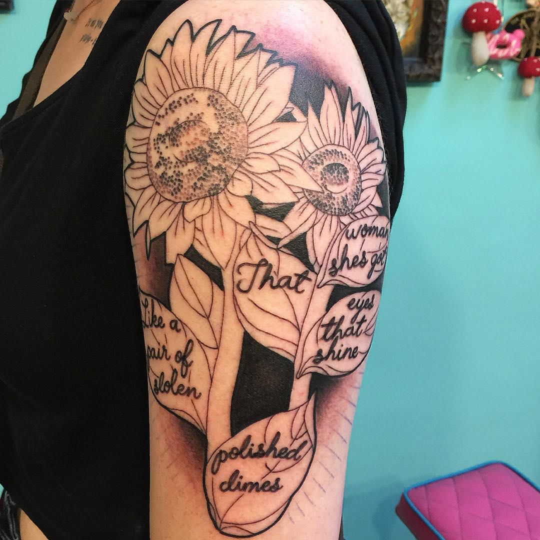 Custom Tattoo of Sunflower