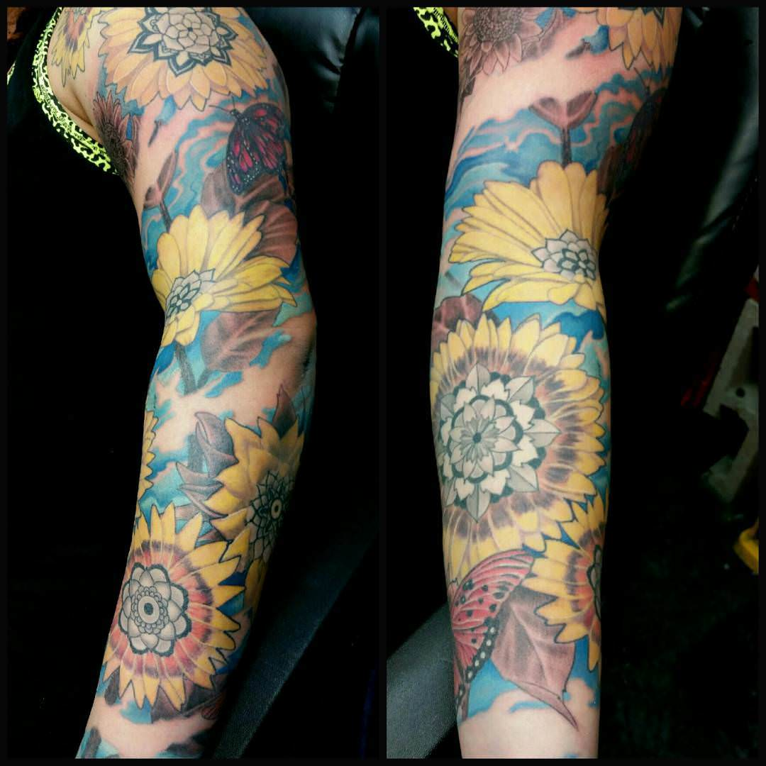 Colorful Sunflowers on hand