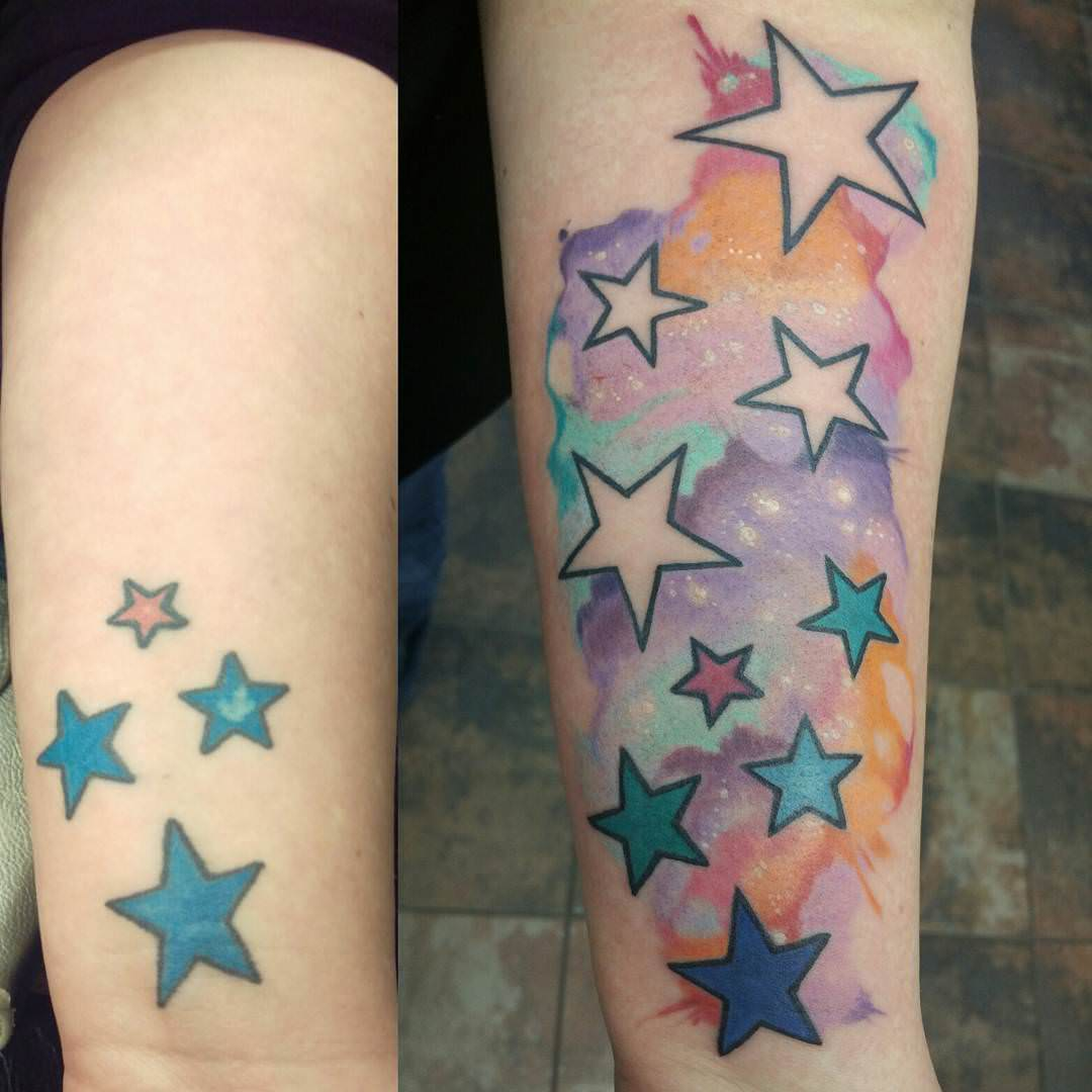 colorful stars on hand