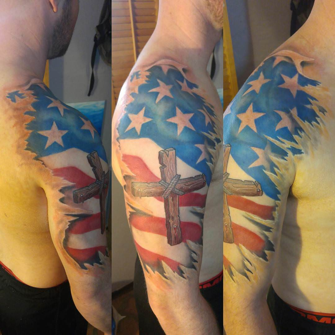 Flag Model Cross Tattoo