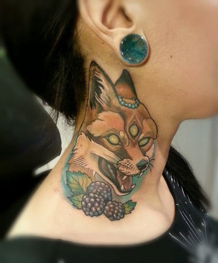 fox tattoo design on neck