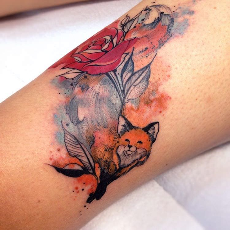 colorful fox tattoo design1