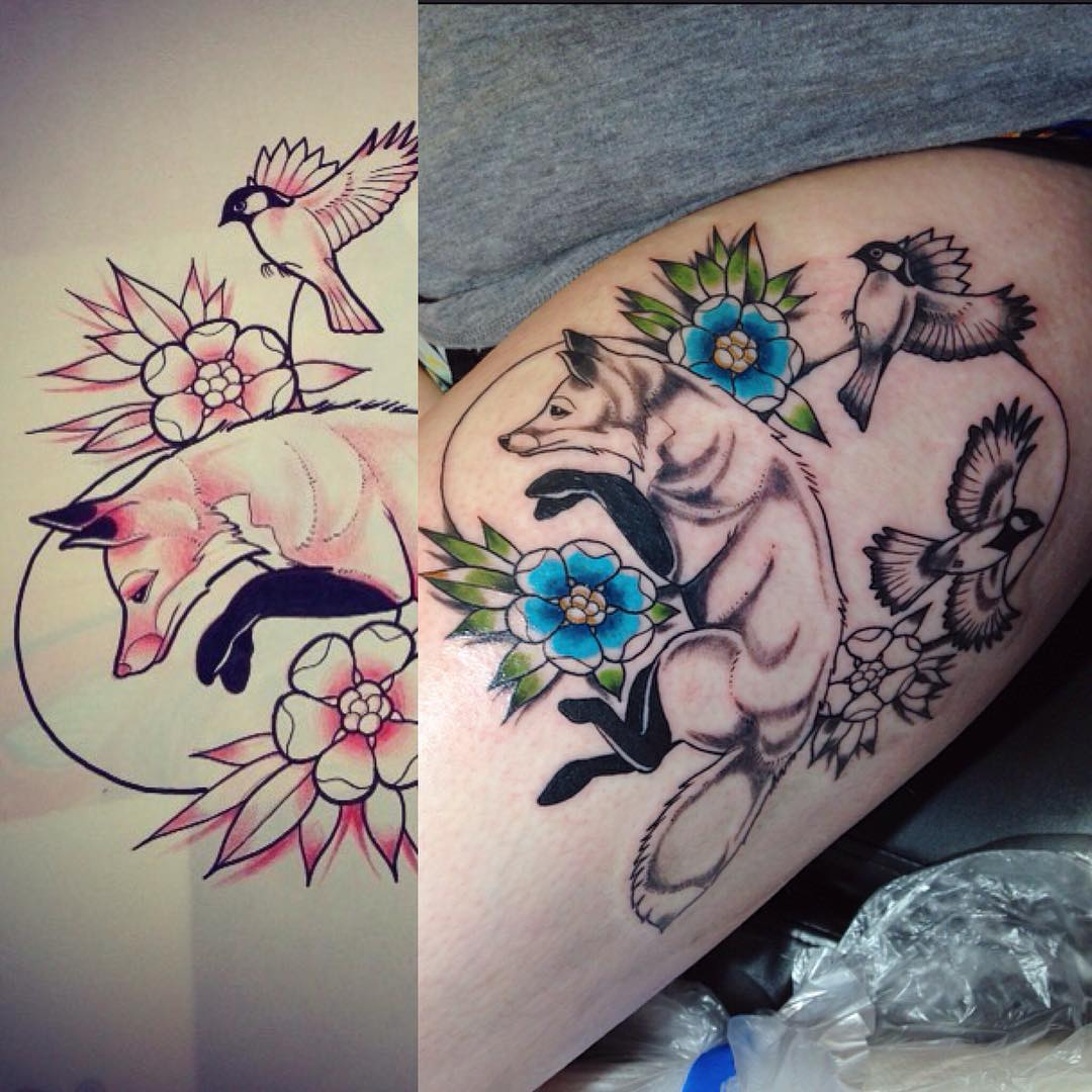 Fox with Flower Tattoo Design