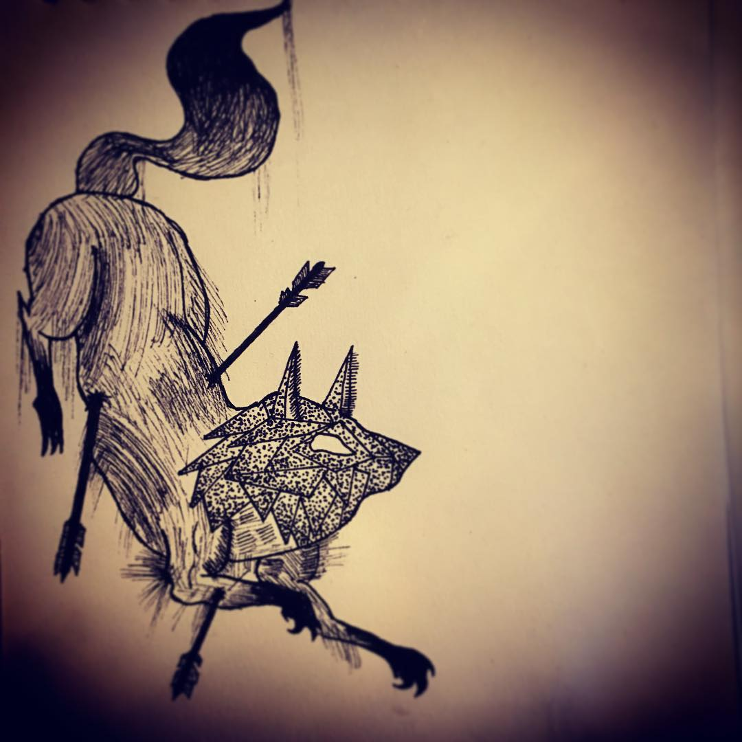 Fox with Arrow Tattoo Design