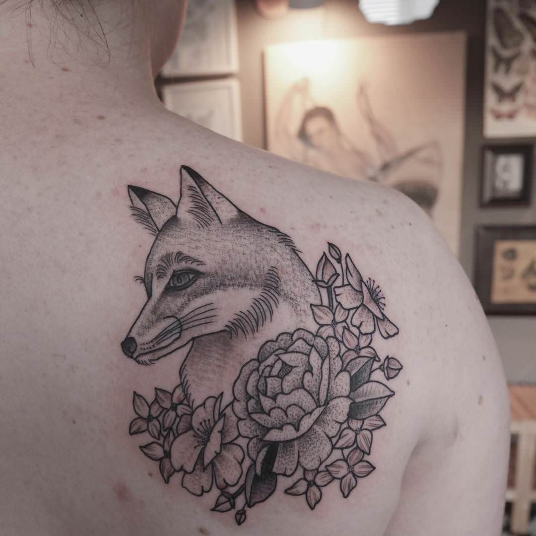 Simple & Natural Fox Tattoo Design