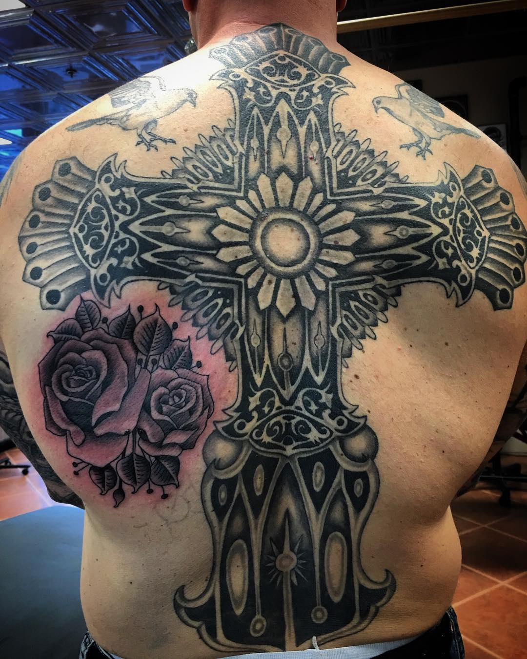 Superb Cross Tattoo on Back