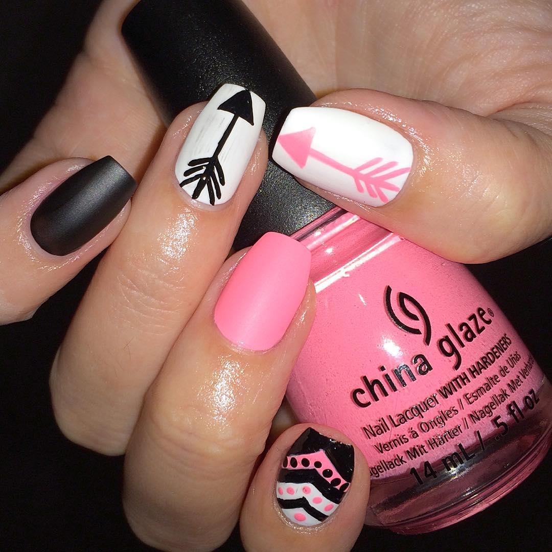 white pink nail art