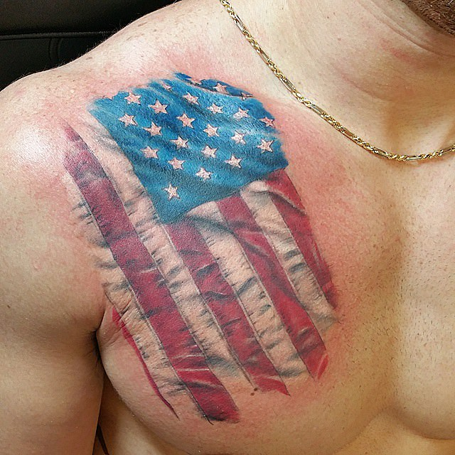 Beautiful Flag Tattoo Design