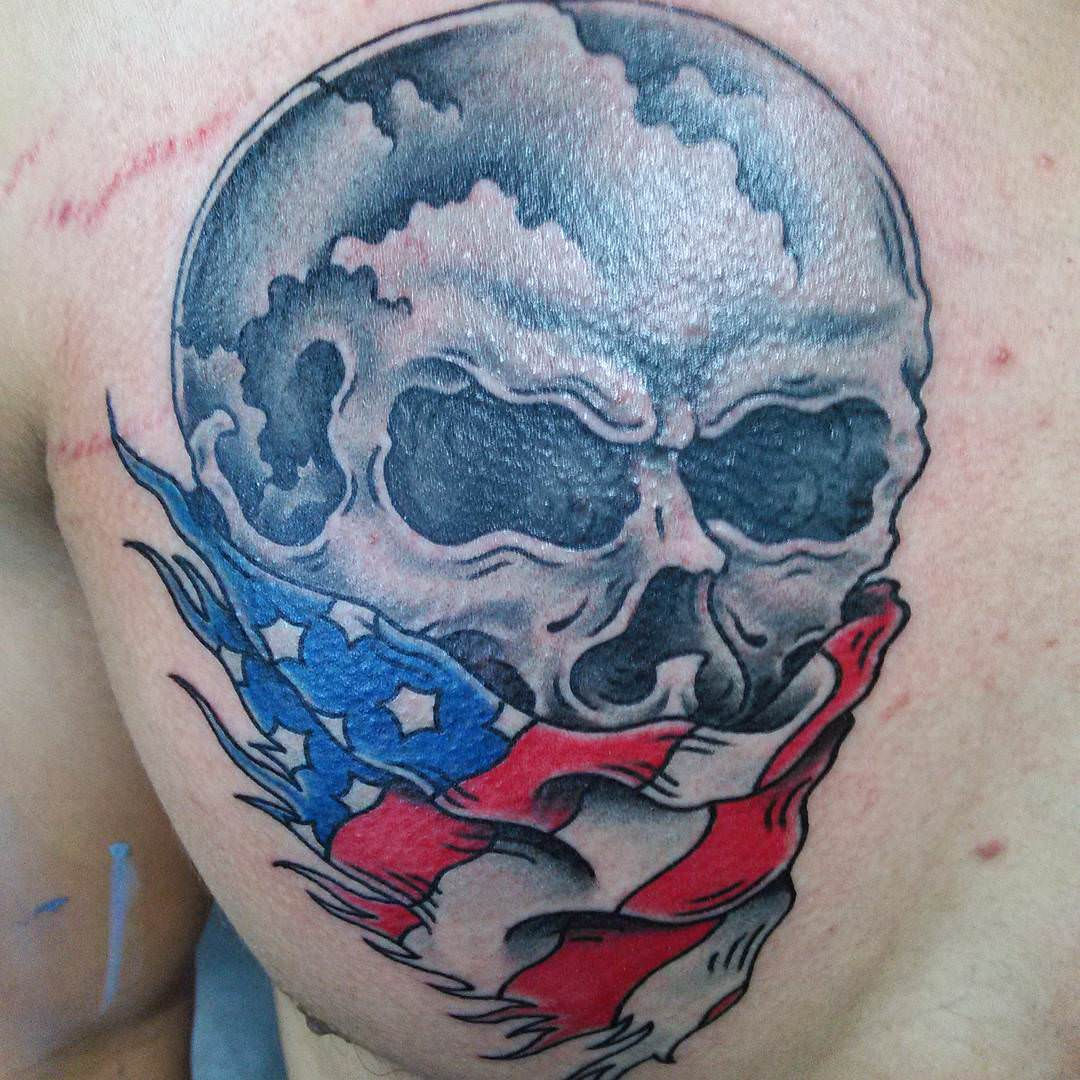 Skull Flag Tattoo Design
