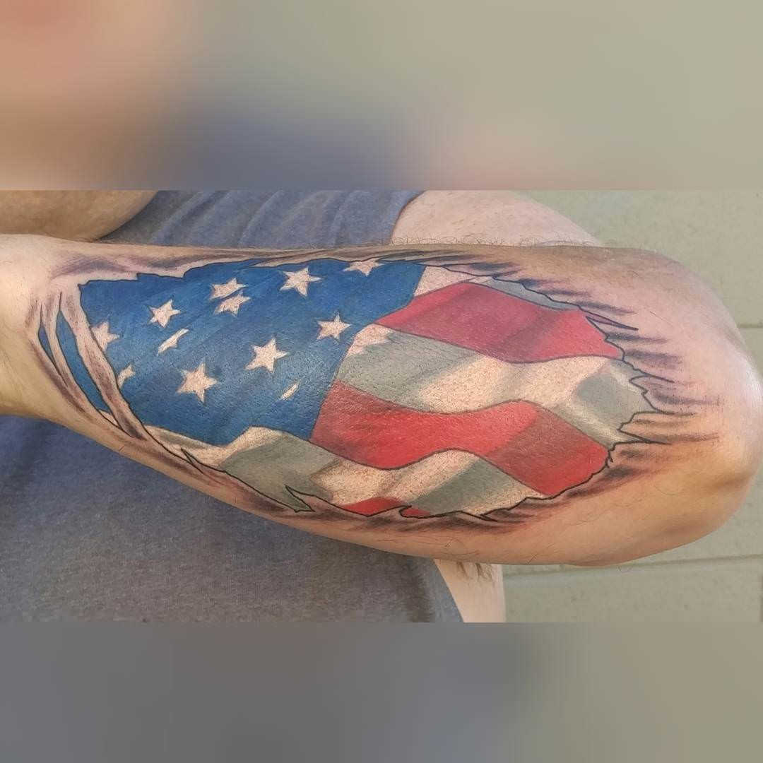 Nice Flag Tattoo Design