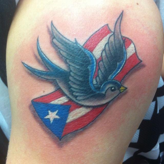 Flag with Sparrow Tattoo