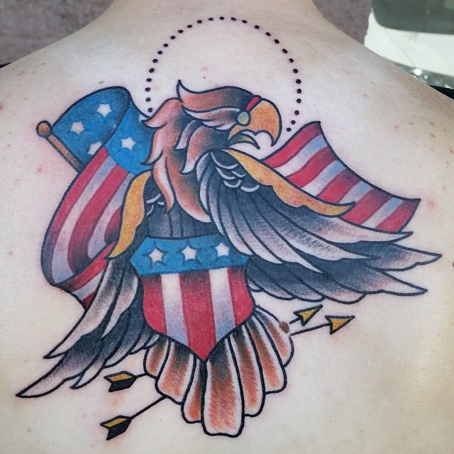 Color Flag & Bird Tattoo