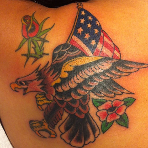 Flower & Bird & Flag Tattoo