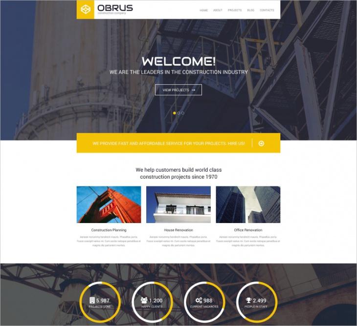 wordpress construction company template