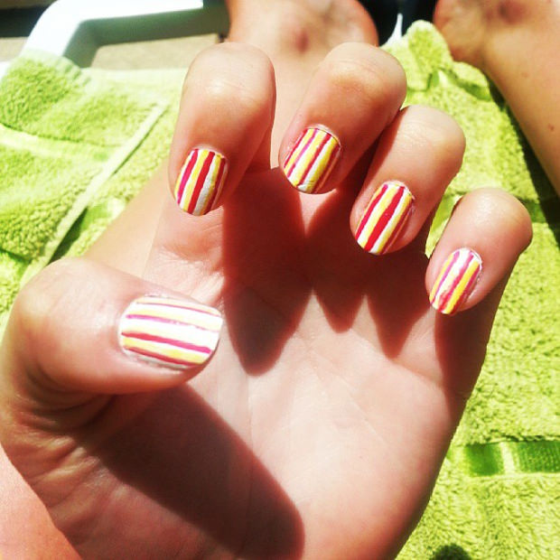 Red & Yellow Easy Nail Art Design
