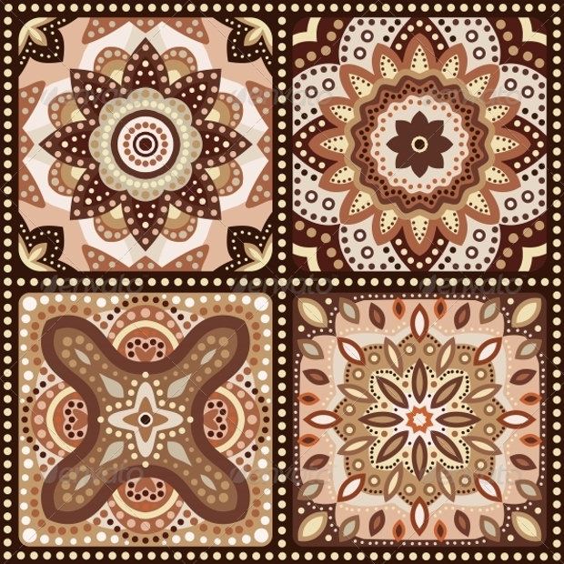 Set of Brown Flower Pattern