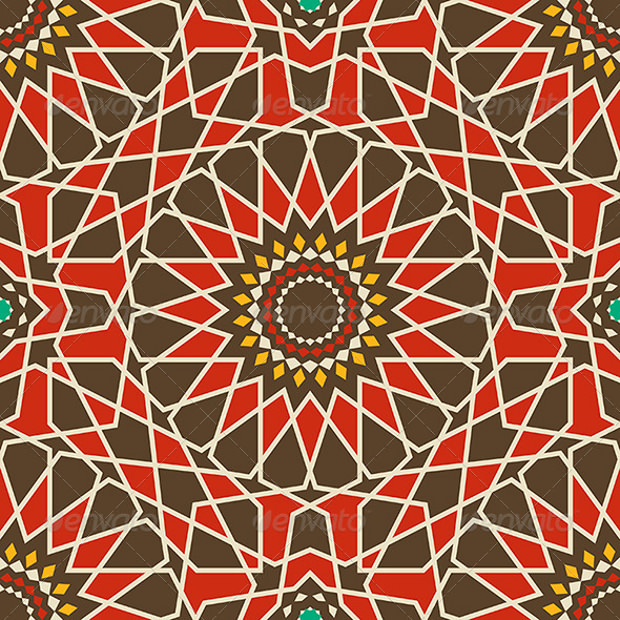 Flower Pattern with Brown and Red
