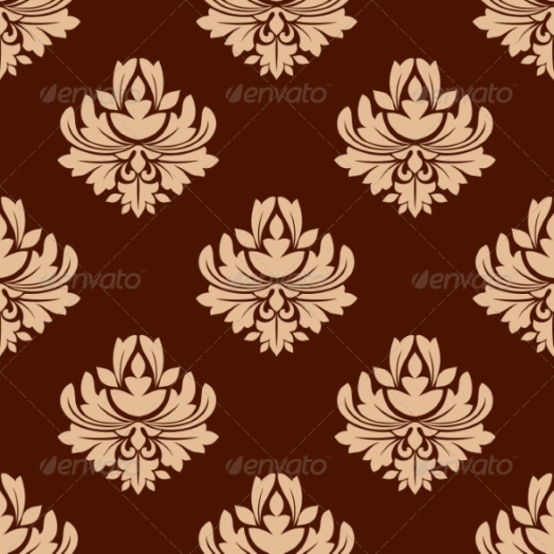 Floral Brown Seamless Pattern