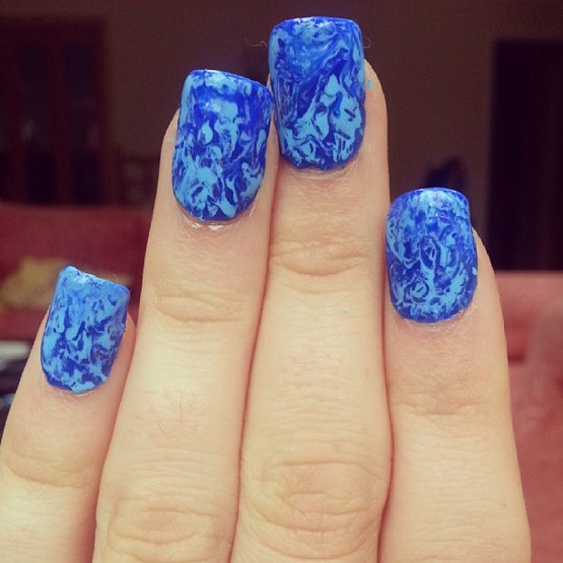 Colorful Blue Nail Art Design