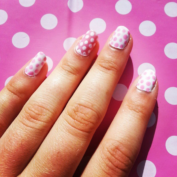 Pink Backgound Easy Nail Art Design